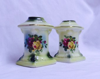 Antique Pair of Handpainted Austrian Candle Holders