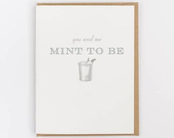 you and me mint to be greeting card