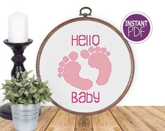 """Baby Girl Cross Stitch Pattern, Cross Stitch Chart - Fits in 6"""" hoop (on 14 count) Baby Cross Stitch by Peppermint Purple"""