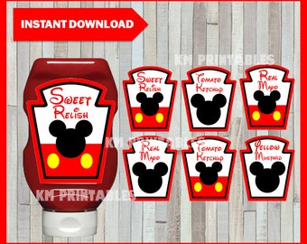 Printable Mickey Mouse condiments labels , Mickey Mouse party condiments labels, Printable Mickey condiment Instant Downlaod