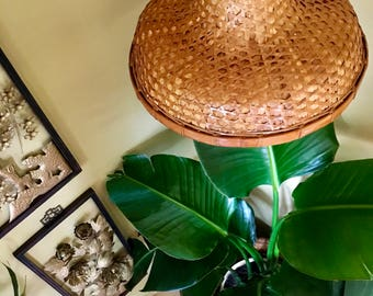 Vintage Bohemian Bamboo Asian-Style Woven Hat Pendant Light / Bamboo Pendant Shade w/ Easy On/Off Gear Switch Pendant Light Cord