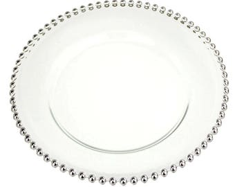 Glass Charger Plate Beaded Edge, Silver, 12-Inch