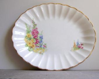 Sovereign Potters Platter , Vintage Earthenware Serving Platter , Floral Hollyhocks , Cottage Chic Decor