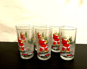 Vintage Firna Santa Claus Holiday Glassware Set of 6