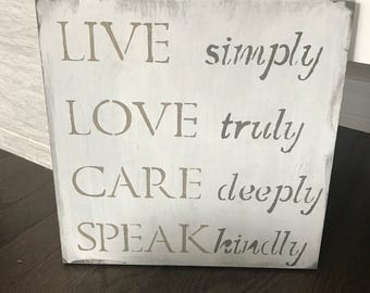 Live-love-wood sign-wall sign-distressed-neutral-custom-hand painted-handmade-home decor-wall hangings-paint