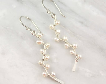 Little White Pearl Silver Vine Earrings