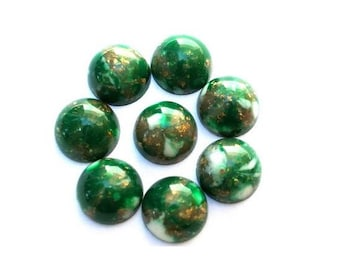 10 Vintage cabochon, lucite plastic, green with gold color glitters, 8mm