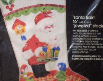 Sultana Christmas Needlecraft kit Santa Train jeweled stocking  16 in Stamped Felt Applique