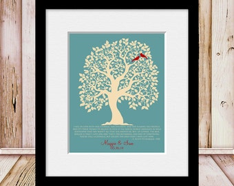 Family Tree with Favorite Quote, Wedding Art, F.Scott Fitzgerald, Lovebird Family Tree, Wedding Gift, Customized Family Tree, Wedding Poster