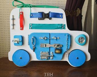 Busy Board, Activity Board, Sensory Board, Montessori educational Toy, Wooden Toy, latch board