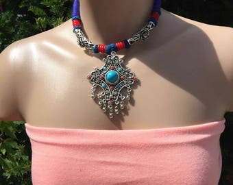 Handcrafted metal Necklace-Beaded Metal Necklace-Multi colored Necklace-Gift for Her-Summer Jewelry-Hippy Necklace- Bridesmaid Jewlery