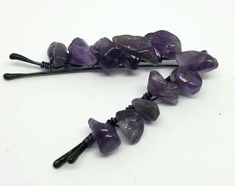 Cute Decorative Hair Pins with Wire Wrapped Amethyst Chips