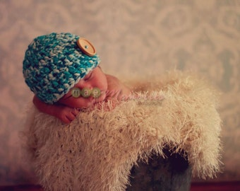 Newborn Baby Boy beanie Photography Prop in Blues (sizes nb, 1-3mos, 3-6mos, 6-12mos)