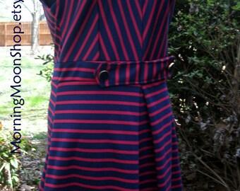Vintage MOD DRESS, Navy Blue Red Stripes, sleeveless mini, Scooter Dress, 1960s Youthquake, Knee-Length, Mad Men Boho Hippie Festival, XS