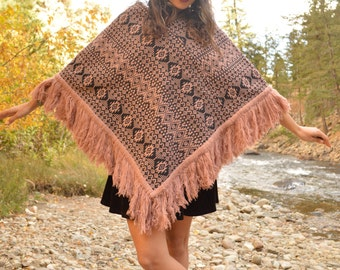 Vintage Dusty Rose Mexican Fringe Poncho Cape Ethnic Textile Pattern