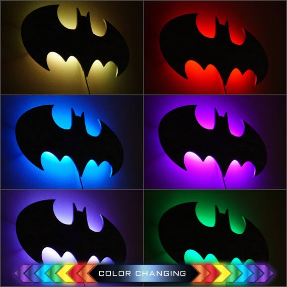 Batman led sign wall art handmade from mdf unique bat aloadofball Choice Image