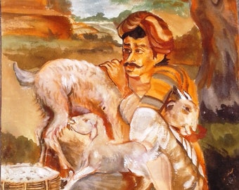 Original Folk Art Painting On Canvas Indian Former With His Goats