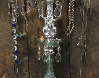 Romantic UPCYCLED Vintage Shabby Silver BoHo JEWELRY STAND Chic Victorian-Look with Chandelier & Lamp Parts, Aqua Blue Crystal Prisms holder