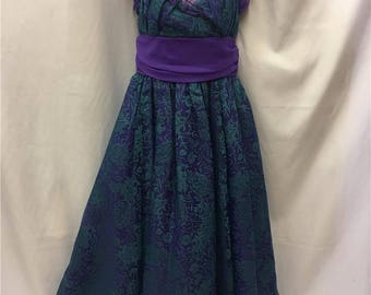 Purple and green evening gown ~ Tapestry detail ~ Size 12-14 ~ Vintage