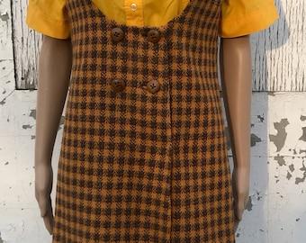 Vintage Dress / Vintage Wool Jumper Dress / 1960s Fashion / Spring Dress / Size Medium / 60s Houndstooth Plaid / Retro Wool Dress / Orange /