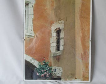 Vintage Original Photo in Frame-Less Clip Frame ~ Detail of Very Old Italian Architecture