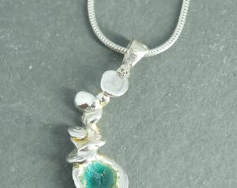 Fine Silver Watercast Pendant with Japanese Enamel and Chain