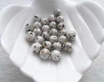 Vintage German Acrylic Beads, 10mm Gray/Black/Silver/Gold Rounds (1312)