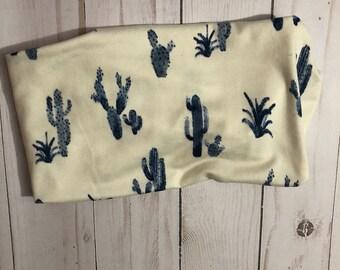 Cream with blue cactus