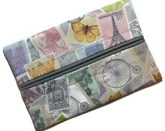Travel Tissue Holder, Elegant Paris Pink and Grey, Pocket Tissue Holder, Travel Tissue Cozy, Pocket Tissue Holder