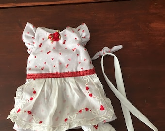 "Hearts and flowers dress and pantaloon set for 12"" Waldorf doll"