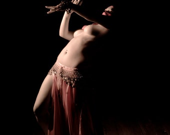 Nude art female belly dancer with veil color fine art photo print wall art - Dancing in the dark - Infrared - 08
