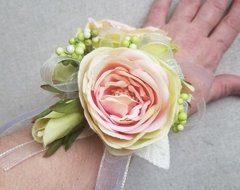 Prom Corsage and Boutonniere Set / Pink Rose Corsage