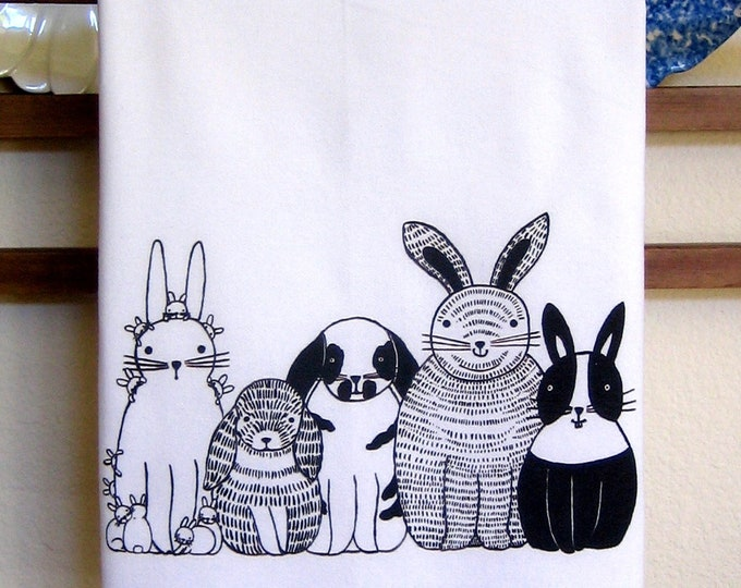 Bunnies in a Row Kitchen Towel