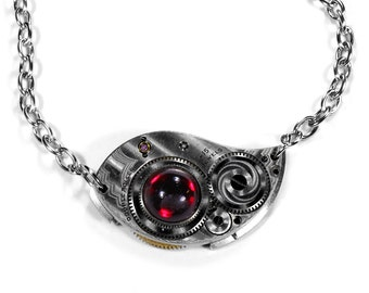 Steampunk Jewelry Necklace ELGIN ORNATE Etched Silver Pocket Watch Blood RED Crystal Wedding Womens Mothers Day Gift - Jewelry by edmdesigns
