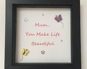 Sentimental Mothers Day embellished box frame