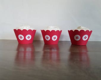12 Mickey Mouse cupcake wrappers Mickey Mouse pants red cupcake wrappers Mickey Mouse Club House scalloped cupcake wrapper