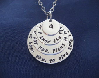 Jeremiah 29:11 - Hand Stamped Necklace - For I know The Plans I Have For You - Personalized Necklace - Initial Charm Necklace