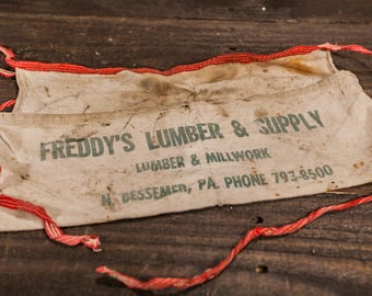 Vintage Carpenter Apron Freddys Lumber & Supply Bessemer PA Hardware Building Supplies Store Apron Advertising