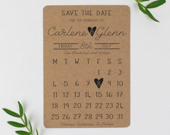 Calendar Save the Date - rustic save the date - kraft save the date - save the date calendar - wedding save the date - Country Charm
