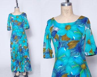 Vintage 60s Hawaiian dress / tropical floral dress / Hawaii maxi dress / tiki luau dress / Polynesian dress