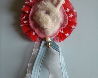 Needle Felted Lionhead Rabbit Rossette Corsage