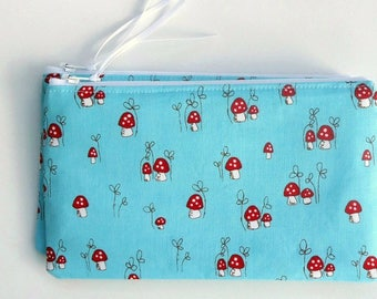 Zipper Pouch, choose your size, Coin Purse, Zip bag, Pencil Case, Mushrooms, Fairy Tale, Make Believe, girlfriend gift, Mother's day gift