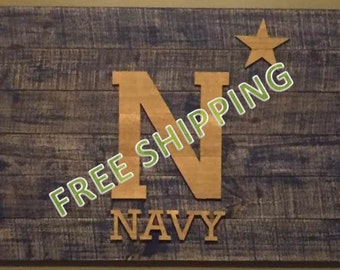 Rustic Navy Flag Constructed from Reclaimed/Repurposed Wood (Free Shipping)