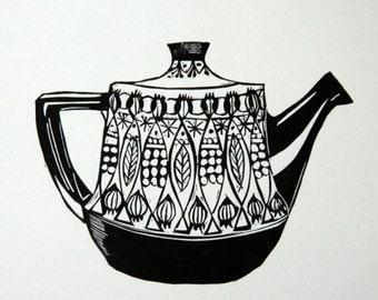 1970's teapot  original letterpress linocut print