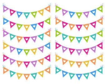 Heart Bunting Clip Art, Hearts Digital Clip Art, Rainbow Bunting, Commercial Use, Instant Download