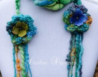 Green Crochet Scarf, Long Crochet Scarf, Fringe Scarf, Skinny Scarf, Handspun Art Yarn Scarf, Boho Scarf, Pixie Scarf, Eco Friendly Fashion