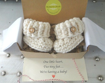 Pregnancy Announcement, Pregnancy Reveal to Grandparents,  BOOTIES IN A BOX®, Baby Announcement, Baby Booties, Baby Announcement, Baby