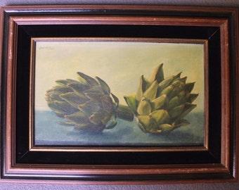 William H. Bailey Original Vintage Contemporary American Realism Still Life Oil Painting Artichokes 1964