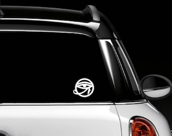 Eye of Horus Car Decal \ White \ 4 in. x 3.5 in.