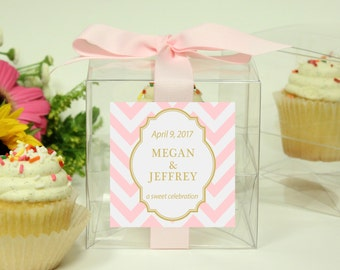 8 - Wedding Favor Cupcake Boxes - Chevron Design - ANY COLOR - wedding favors, party favors, wedding cupcake box, personalized cupcake box